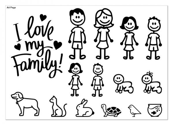 i love my family car decal sticker a4